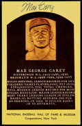 Autographs:Post Cards, Max Carey Signed Hall of Fame Plaque Postcard....