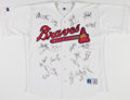 Baseball Collectibles:Uniforms, Late 1990s Atlanta Braves Team Signed Jersey....