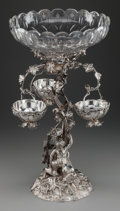 Silver Holloware, British, An English Victorian Silver-Plated Figural Epergne with Cut-GlassBowls, circa 1880. 22-1/4 inches high x 12-1/4 inches diam...(Total: 4 Items)