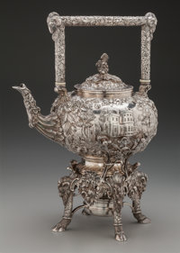 A Samuel Kirk & Son Co. Castle Pattern Silver Hot Water Kettle on Stand, Baltimore