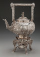 A Samuel Kirk & Son Co. Castle Pattern Silver Hot Water Kettle on Stand, Baltimore, Maryland, circa 1907 Marks...