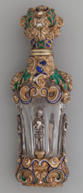 Silver Holloware, French:Holloware, A French Crystal Perfume Bottle with Gilt and Enameled SilverMounts, circa 1870. 4-3/4 inches inches high (12.1 cm). ...