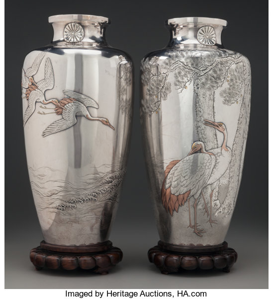 A Pair Of Japanese Silver And Mixed Metal Vases With Cranes Lot