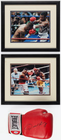 Boxing Collectibles:Autographs, De La Hoya, Holyfield and Mosley Signed Memorabilia Lot of 3....
