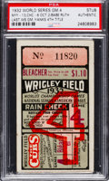 Baseball Collectibles:Tickets, 1932 World Series Game Four Ticket Stub, PSA Authentic....