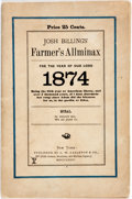 Books:Americana & American History, [Comic Almanac]. Josh Billings' Farmer's Allminax for the Yearof Our Lord 1874. New York: G.W. Carleton & Co., ...