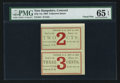 Obsoletes By State:New Hampshire, Concord, NH-Unissued Merchant's Scrip 2¢-3¢ July 1, 1864 Uncut Pair of Remainders. ...