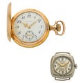 Timepieces:Other , Gruen Wristwatch & Waltham Pocket Watch. ... (Total: 2 Items)