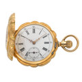 Timepieces:Pocket (post 1900), Swiss 14k Gold Hunter's Case Pocket Watch. ...