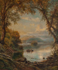 Fine Art - Painting, American:Antique  (Pre 1900), Edmund Darch Lewis (American, 1835-1910). Lake Landscape withFishermen, 1875. Oil on canvas. 43 x 35 inches (109.2 x 88...