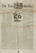 Books:Periodicals, [Illustrated Periodical, Newspaper]. Single Issue of The RailSplitter. Vol. I, No. 5. July 21, 1860. ...