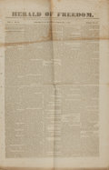 Books:Periodicals, [Abolitionist Newspaper]. Single Issue of the Herald ofFreedom. Vol. 2, No. 49, Whole No. 75. Feb. 4, 1837. ...