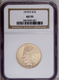 Indian Eagles: , 1910-D $10 AU55 NGC. NGC Census: (44/5820). PCGS Population(182/5167).Mintage: 2,356,640. Numismedia Wsl. Price: $444. (#8...
