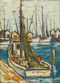 Fine Art - Painting, American:Other , AMERICAN SCHOOL. Sailboat Harbor. Oil on board. 16 x 12in..Signed lower left: J.B. **mone. ...