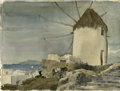 American:Impressionism, OTHELLO FRANCIS MICHETTI (American 1895-1981). Windmill, Myconos,Greece. Watercolor on paper. 10in. x 14in.. Signed lower...