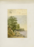 American:Hudson River School, JOHN HENRY HILL (American 1839 - 1922). Shoreline (with sketchesof sailboats). Watercolor and pencil on paper. 10 x 7in...