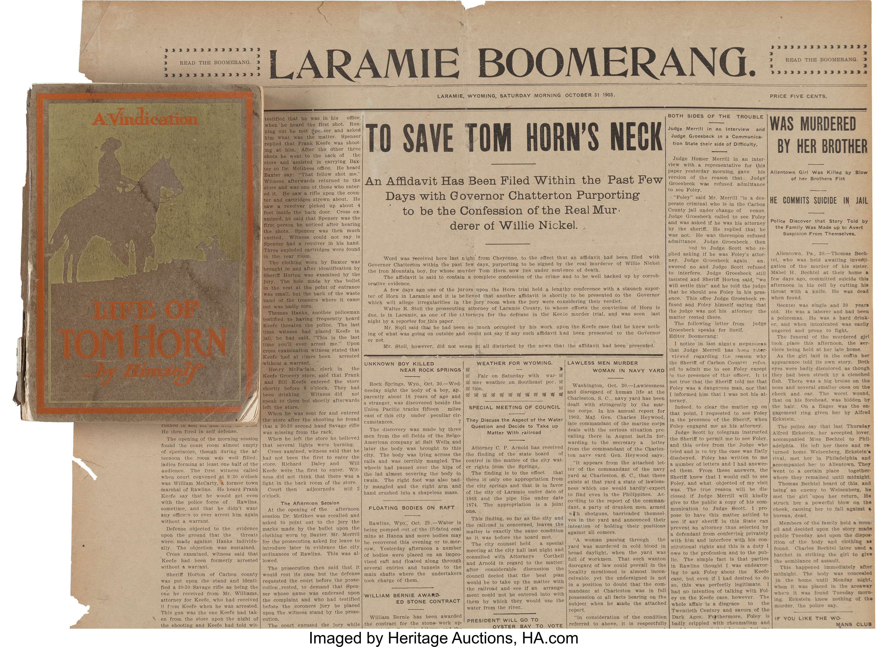 Tom Horn: A Rare Laramie Newspaper and a Copy of his Autobiography