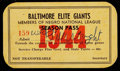 Baseball Collectibles:Tickets, 1944 Wild Bill Wright Signed Baltimore Elite Giants Negro LeagueSeason Pass....