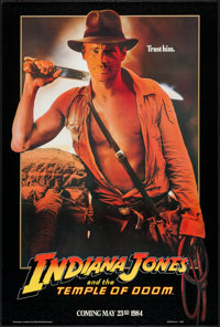 """Indiana Jones and the Temple of Doom (Paramount, 1984). One Sheet (27"""" X 40"""") Advance. Adventure"""
