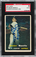 Autographs:Sports Cards, Signed 1957 Topps Mickey Mantle #95 Baseball Card SGC Authentic....