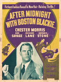 "After Midnight with Boston Blackie (Columbia, 1943). Silkscreen Poster (30"" X 40""). Mystery"