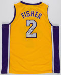 Basketball Collectibles:Uniforms, Derek Fisher Signed Los Angeles Lakers Jersey....