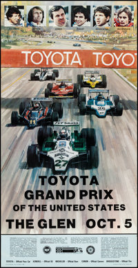 "Toyota Grand Prix of the United States (Toyota, 1980). Auto Race Poster (17"" X 33""). Sports"