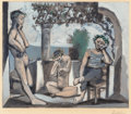 Fine Art - Work on Paper:Print, After Pablo Picasso (Spanish, 1881-1973). Bacchanale, circa1955. Aquatint in colors on Rives BFK paper. 18-1/2 x 22 inc...