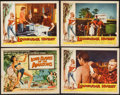 "Movie Posters:Adventure, Love Slaves of the Amazons & Other Lot (UniversalInternational, 1957). Title Lobby Card and Lobby Cards (3) (11"" X14""). Ad... (Total: 4 Items)"