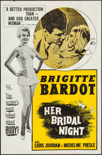 """The Bride is Much Too Beautiful (Ellis-Lax, 1958). One Sheet (27"""" X 41"""") & Lobby Card Set of 4 (11&quo..."""