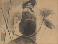 Arshile Gorky (1904-1948) Untitled (X on Brown Paper), circa 1933-34 Pencil on brown paper 19 x 2