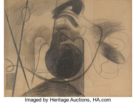 Arshile Gorky (1904-1948)Untitled (X on Brown Paper), circa 1933-34Pencil on brown paper19 x 25 inches (48.3 x 63....