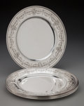 Silver Holloware, American:Plates, Six Tiffany & Co. Silver Service Plates, New York, New York,circa 1917. Marks: TIFFANY & CO. 19143A MAKERS 5222,STERLING... (Total: 6 Items)