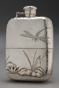 Silver Holloware, American:Flasks, A Dominick & Haff Japanesque Partial Gilt Silver Flask, NewYork, New York, circa 1882. Marks: STERLING, (rectangle,cir...