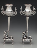 Silver Holloware, American:Candelabra, A Pair of Gorham Silver Figural Candlesticks, Providence, RhodeIsland, late 19th century. Marks: (lion-anchor-G), STERLIN...(Total: 2 Items)