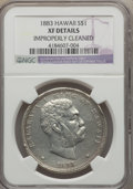 Coins of Hawaii: , 1883 $1 Hawaii Dollar -- Improperly Cleaned -- NGC Details. XF. NGCCensus: (62/292). PCGS Population (169/451). Mintage: 5...