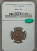 Indian Cents: , 1873 1C Closed 3 MS63 Brown NGC. CAC. NGC Census: (57/77). PCGSPopulation (24/16). Numismedia Wsl. Price for problem free...