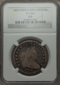 Early Half Dollars, 1806 50C Pointed 6, Stem, O-120a, T-28, R.4, Good 6 NGC. NGCCensus: (1/19). PCGS Population (0/12). ...