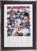 Football Collectibles:Others, 1987 Tom Landry, Roger Staubach & Other Dallas Cowboys Greats Multi Signed Lithograph....