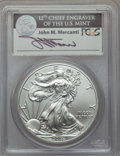 Modern Bullion Coins, 2011-S $1 Silver Eagle, 25th Anniversary, Mercanti Signature, First Strike MS70 PCGS. PCGS Population (8215). NGC Census: (...