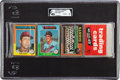 Baseball Cards:Lots, 1975 Topps Baseball Unopened Rack Pack GAI NM-MT 8 With BrettRookie On Back. ...