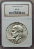 Eisenhower Dollars, 1973-S $1 Silver MS68 NGC. NGC Census: (161/2). PCGS Population (877/4). Mintage: 869,400. Numismedia Wsl. Price for proble...