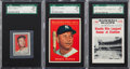 Baseball Cards:Lots, 1961 Topps & Nu-Card Mickey Mantle Graded Trio (3). ...