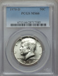 Kennedy Half Dollars, 1970-D 50C MS66 PCGS. PCGS Population (473/13). NGC Census:(135/7). Mintage: 2,150,000. Numismedia Wsl. Price for problem ...