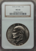Eisenhower Dollars, 1976-D $1 Type One MS66 NGC. NGC Census: (256/7). PCGS Population (287/6). Mintage: 21,048,710. Numismedia Wsl. Price for p...