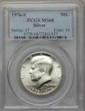 Kennedy Half Dollars, 1976-S 50C Silver MS68 PCGS. PCGS Population (398/1). NGC Census:(23/0). Mintage: 11,000,000. Numismedia Wsl. Price for pr...