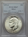 Eisenhower Dollars, 1971-S $1 Silver MS67 PCGS. PCGS Population (512/3). NGC Census: (120/1). Mintage: 2,600,000. Numismedia Wsl. Price for pro...