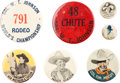 Entertainment Collectibles:Movie, Movie Cowboy and Rodeo Buttons.... (Total: 7 Items)