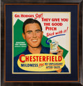 Baseball Collectibles:Others, 1950's Gil Hodges Chesterfield Cigarettes Advertising Sign....