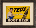 Baseball Collectibles:Others, 1950's Ted's Root Beer Advertising Sign....